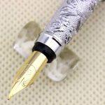 Hero luxe stylo plume 103 plein argent brillant moyen fleur de plume en relief de la marque Gullor image 2 produit