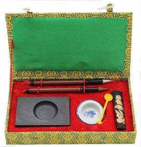HorBous 7 PCS calligraphie chinoise Inkstone + bol à eau + bâton d'encre + 2 stylos à brosse + encrier + boîte à cadeaux Set pour Enfant Enfant Débutant de la marque HorBous image 0 produit
