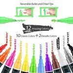 InnoBeta Chalkool Paquet de 12 stylos marqueurs Craie Liquide , Effaçables, pointe fine et biseautée réversible avec 40 etiquettes en tableau noir gratuites en bonus de la marque InnoBeta image 1 produit