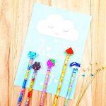 JZK® 24 x Cute Crayons de bois avec des caoutchoucs pour dessin animés pour les enfants, les fêtes de fin d'année, les sacs de fête, le cadeau d'anniversaire parfait pour Noël de la marque JZK image 4 produit