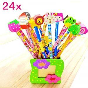 JZK® 24 x Cute Crayons de bois avec des caoutchoucs pour dessin animés pour les enfants, les fêtes de fin d'année, les sacs de fête, le cadeau d'anniversaire parfait pour Noël de la marque JZK image 0 produit