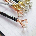 Keku 8pcs Grande Cristal Diamant Stylo à bille en métal Noir Sac et 8recharges Bille pour femme, collègues, enfants, filles de la marque KEKU image 4 produit