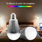 kingled–Ampoule LED Wi-Fi Multi-couleur RGBW avec culot e27, 9W 850lm équivalent à 80W halogène, Coloration de température RGB + Blanc froid 6000K, angle d'éclairage 180°, Taille 59.5x 122.5mm, série milight, Cod. 2214 de la marque Mi-Light image 3 produit