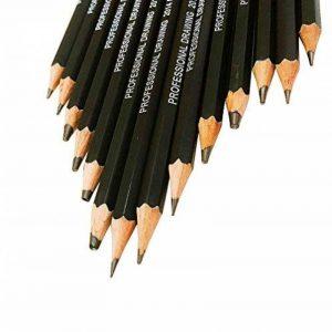 Kinso 14croquis Crayons Art Crayons croquis de voyage d'artiste Dessin kit 12B, 10B, 8b, 7B, 6B, 5B, 4B, 3B, 2B, B, HB, 2H, 4h, 6h–Precision Crayons graphite pour artistes Dessin Accessoires en ligne de la marque KINSO image 0 produit