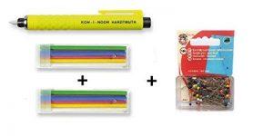 Koh-I-Noor Tailor de craie s128pn8004bl, en plastique, 13 x 1,3 x 1,3 cm + 2 paquets de craies de rechange + KOH-I-NOOR Boîte de 100 épingles de verre multicolor de la marque Jueli image 0 produit