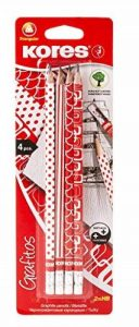 Kores Grafitos Lot de 4 Crayons papier HB avec embout Gommes Rouge/Blanc de la marque Kores image 0 produit