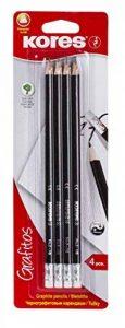 Kores Grafitos Lot de 4 Crayons papier HB triangulaire avec embout Gommes Blanc de la marque Kores image 0 produit