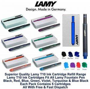 Lamy T10, coloris assortis Pack cartouches d'encre pour stylo-plume de rechange pour toutes les recharges Lamy Fountian stylos (1 de chaque couleur - 7 Lot de 35 encre lavable, noir, rouge, bleu, vert, Violet, bleu Turquoise &Noir) de la marque Lamy image 0 produit