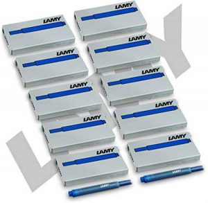 Lamy t10 lot de 50 cartouches d'encre-bleu (10 x 5 cartouches d'encre pour stylo plume de la marque Lamy image 0 produit