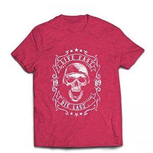 lepni.me T-shirt pour hommes Vive vite - mourir en dernier - citations de vélo, vêtements de moto, amour pour rouler, grand cadeau pour le motard de la marque lepni.me image 0 produit