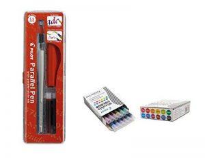Lot 1coloriage plume calligraphique Pilot Parallel Pen plumin 1.5mm rechargeable + Boîte avec 12recharges assorties Stylo Pilot Parallel Pen de la marque Pilot Parallel Pen image 0 produit