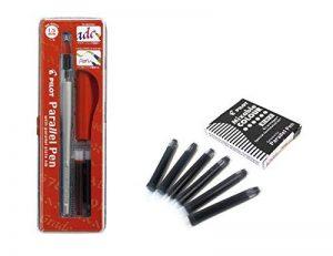 Lot 1coloriage plume calligraphique Pilot Parallel Pen plumin 1.5mm rechargeable + Boîte avec 6recharges couleur noir plume Pilot Parallel Pen de la marque Pilot Parallel Pen image 0 produit