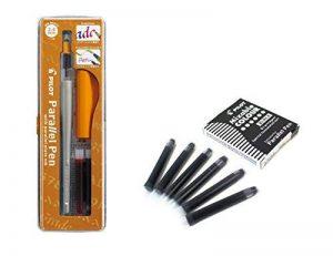 Lot 1coloriage plume calligraphique Pilot Parallel Pen plumin 2.4mm rechargeable + Boîte avec 6recharges couleur noir plume Pilot Parallel Pen de la marque Pilot Parallel Pen image 0 produit