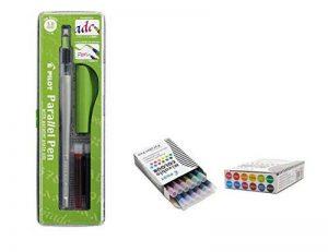 Lot 1coloriage plume calligraphique Pilot Parallel Pen plumin 3.8mm rechargeable + Boîte avec 12recharges assorties Stylo Pilot Parallel Pen de la marque Pilot Parallel Pen image 0 produit