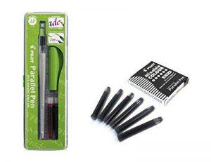 Lot 1coloriage plume calligraphique Pilot Parallel Pen plumin 3.8mm rechargeable + Boîte avec 6recharges couleur noir plume Pilot Parallel Pen de la marque Pilot Parallel Pen image 0 produit