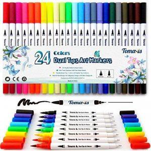 Lot de 24feutres de coloriage pour Bullet Journal, 0,4mm Double pointes feutre fine et pinceau Couleur à l'eau Stylos de dessin de la marque Tomaxis image 0 produit
