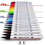 Lot de 24feutres de coloriage pour Bullet Journal, 0,4mm Double pointes feutre fine et pinceau Couleur à l'eau Stylos de dessin de la marque Tomaxis image 1 produit