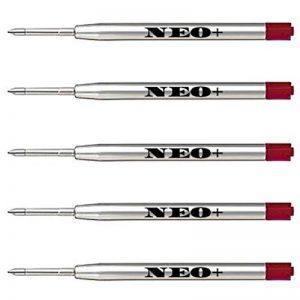 Lot de 5 recharges de stylos à bille compatibles avec Parker rouge de la marque NEO+ image 0 produit
