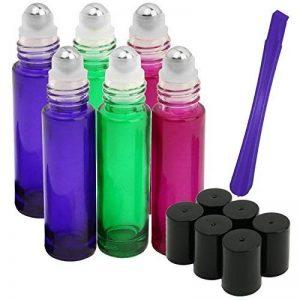 Lot de 6, 10ml Roller bouteilles par Jamhoodirect–Premium en verre de qualité rechargeables Huile essentielle Rouleau sur bouteilles avec couvercle Opener Pry outil (Cadeau Gratuit), parfait pour aromathérapie, huiles essentielles, parfums et baumes à image 0 produit
