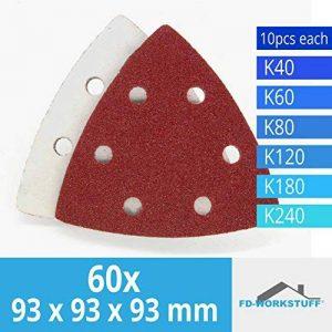 Lot de 60 triangles 93 x 93 x 93 mm abrasifs pour ponceuse Delta 6 trous, Grain 40/60/80/120/180/240 ( 10 disques par type de grain ) de la marque FD-Workstuff® image 0 produit