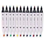 Luxbon Lot de 12 Double pointe Marqueur en tissu textiles Pigment Bien Permanent Graffiti Coloration Enfant sûr non toxique de la marque Luxbon image 3 produit