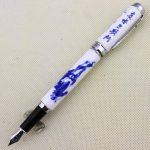 Luxe stylo plume Jinhao 950 porcelaine bleu et blanc avec la calligraphie chinoise et le cheval moyen 18KGP de plume de la marque Gullor image 1 produit