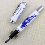 Luxe stylo plume Jinhao 950 porcelaine bleu et blanc avec la calligraphie chinoise et le cheval moyen 18KGP de plume de la marque Gullor image 2 produit