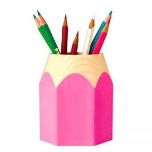 LY® Pot à crayons Pot de Rangement Pour Bureau Maison Couleurs Assorties Style de Bois En plastique - Rose de la marque LY image 0 produit