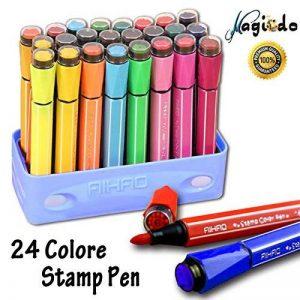 Magicdo 24 couleurs aquarelles stylos avec des timbres, lavable non toxique marqueurs colorés stylo pour enfants dessin, griffonnage et coloriage de la marque Magicdo® image 0 produit