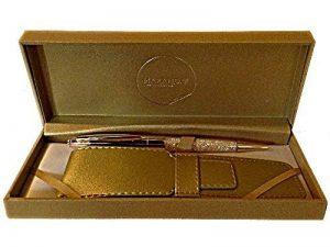 Maranda-Ti Or Cristal Swarovski encre noire stylo à bille pour dames - Léger Stylo 22g - Gold Case 18 x 8 cm - Luxury or Cover de la marque Maranda Ti image 0 produit