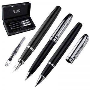 Mark Twain–3pièces en métal Set d'écriture avec stylo plume avec convertisseur (Pompe Cartouche), stylo bille et roller de la marque Mark Twain image 0 produit