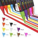 Marqueurs Craie, Blusmart 12 couleurs assorties avec 40 décoratif adhésif Stickers, Pointe Réversible 6mm+3mm, Feutres Liquides Surfaces Non Poreuses, Ardoise, Verre, Céramique de la marque Blusmart image 1 produit