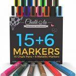 Marqueurs à craie liquide et couleurs métalliques–Boîte de 21–Marqueur à craie pour tableaux de de la marque Chalkola image 0 produit