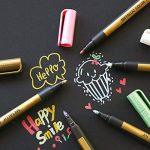 Marqueurs métalliques peintures stylos, 10 couleurs moyen point fine marqueurs de peinture d'art en métal avec 3 pochoirs et 1 sac de crayon, utilisation pour le scrapbooking, la fabrication de cartes, bricolage album photo, peinture roches, Noël artisana image 6 produit