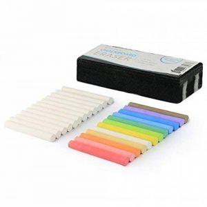 Meilleur vendeur de craies non toxiques sans poussière blanches (boîte de 12) et colorées (boîte de 12) + brosse à effacer de qualité pour tableau de la marque kedudes image 0 produit
