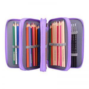 Newcomdigi Sac à Crayon de Toile Sac à Crayon 72 Couleurs Organisateur Crayon Porte-Crayons Grande Capacité Solide Durable Pratique pour Bureau Ecole Art - Violet clair de la marque Newcomdigi image 0 produit