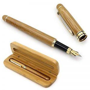 NUOLUX Moyen plume stylo plume bambou naturel écrit Pen avec convertisseur et étui (Red emballé) de la marque NUOLUX image 0 produit