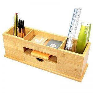 Organisateur de bureau avec tiroir, 5compartiments. En bambou naturel de la marque Woodquail image 0 produit