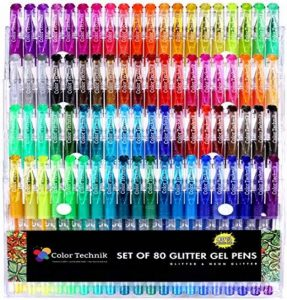 Paillettes stylos à encre gel de couleur Technik, Lot de 80Paillettes et Neon stylos à paillettes, les meilleures Couleurs assorties, pas de Doublons, 40% de plus d'encre, Améliorez votre livre de coloriage pour adultes expérience maintenant, idée cadeau image 0 produit