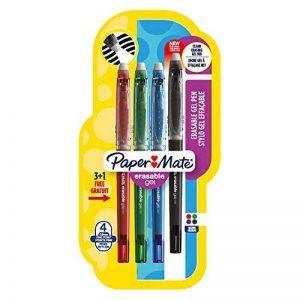 Paper Mate Erasable Gel stylo gel effaçable, pointe fine 0,5mm, couleurs standard assorties, Lot de3+1 de la marque Papermate image 0 produit
