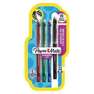 Paper Mate Erasable Gel stylo gel effaçable, pointe moyenne 0,7mm, couleurs standard assorties, Lot de4 de la marque Papermate image 0 produit