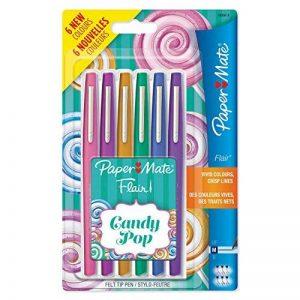 Paper Mate Flair Candy POP stylos feutre, pointe moyenne, assortiment de couleurs, lot de 6 de la marque Papermate image 0 produit