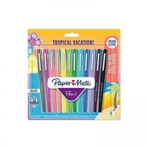 PaperMate Flair stylo-feutre, pointe moyenne 1,1mm, couleurs Tropical, lot de 12 de la marque Papermate image 0 produit