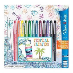 Paper Mate Flair stylos feutre, pointe moyenne, couleurs tropicales et assorties, lot de 12 de la marque Papermate image 0 produit