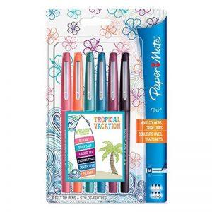 Paper Mate Flair stylos feutre, pointe moyenne, couleurs tropicales, lot de 6 de la marque Papermate image 0 produit