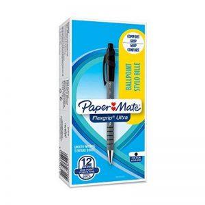 PaperMate Flexgrip Ultra Stylo Bille Rétractable, Pointe Fine (0,5mm), Encre Noire, Boîte de12 de la marque Papermate image 0 produit