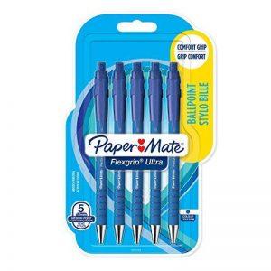 PaperMate Flexgrip Ultra Stylo Bille Rétractable, Pointe Moyenne (1,0mm), Encre Bleue, Lot de5 de la marque Papermate image 0 produit