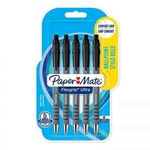 PaperMate Flexgrip Ultra stylo bille rétractable, pointe moyenne (1,0mm), encre noire, lot de5 de la marque Papermate image 0 produit