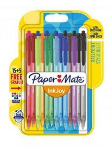 Paper Mate InkJoy 100RT Lot de 20 Stylos bille rétractable pointe moyenne Couleurs Assorties de la marque Papermate image 0 produit