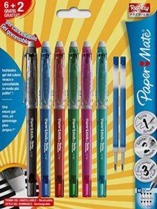 PaperMate Replay Premium, stylo gel effaçable, pointe moyenne 0,7mm, couleurs assorties, lot de 6+2 recharges de la marque Papermate image 0 produit